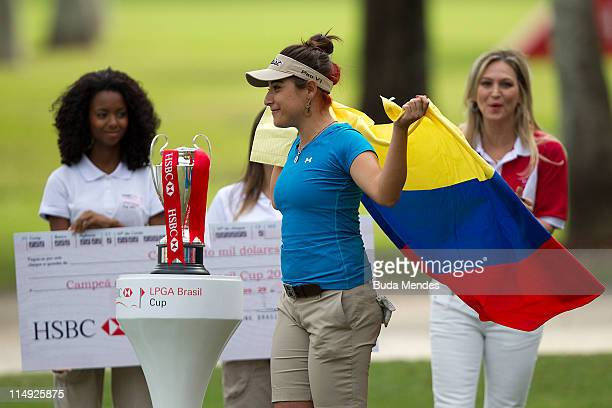 Mariajo Uribe of Colombia celebrates the title of the HSBC LPGA Brazil Cup at the Itanhanga Golf Club on May 29, 2011 in Rio de Janeiro, Brazil.