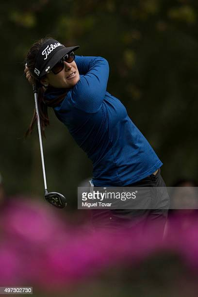 Mariajo Uribe of Colombia hits a tee shot during the third round of Lorena Ochoa Invitational 2015 at the Club de Golf Mexico on November 14 2015 in...