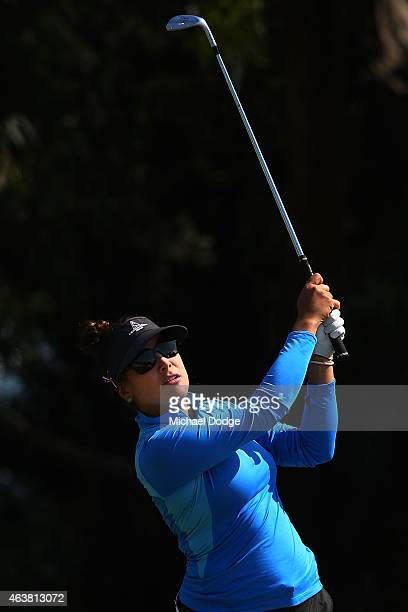 Mariajo Uribe of Colombia hits an approach shot on the 12th hole during day one of the LPGA Australian Open at Royal Melbourne Golf Course on...