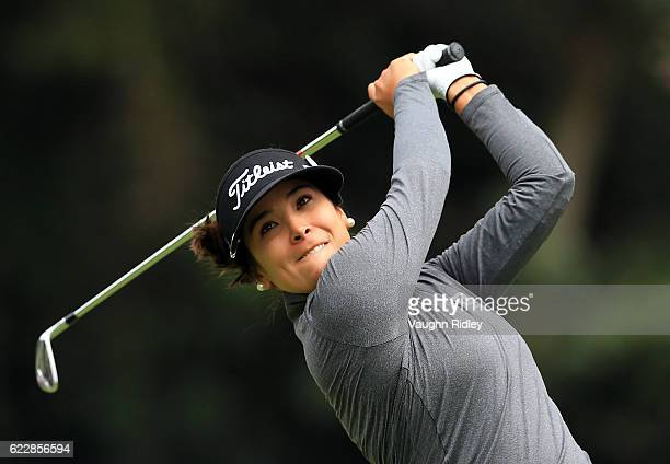 Mariajo Uribe of Colombia hits her 1st shot on the 3rd hole during the third round of the Citibanamex Lorena Ochoa Invitational Presented By...