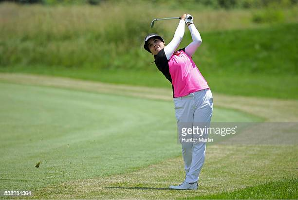 Mariajo Uribe of Colombia hits her second shot on the 16th hole during the final round of the ShopRite LPGA Classic presented by Acer on the Bay...