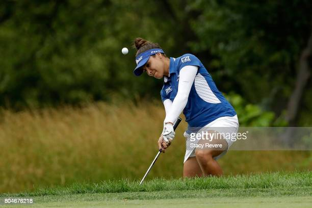 Mariajo Uribe of Colombia hits her second shot on the fourth hole during the second round of the 2017 KPMG PGA Championship at Olympia Fields on June...