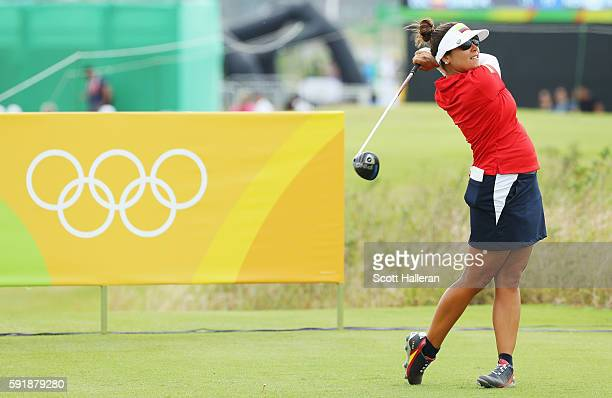 Mariajo Uribe of Colombia hits her tee shot on the 18th hole during the second round of the Women's Individual Stroke Play golf on Day 13 of the Rio...