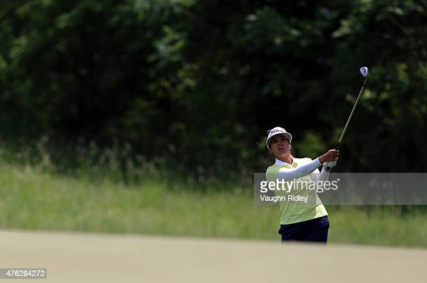 Mariajo Uribe of Colombia hits her third shot on the 3rd hole during the final round of the Manulife LPGA Classic at the Whistle Bear Golf Club on...