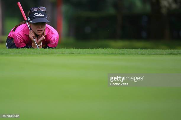 Mariajo Uribe of Colombia looks on during the final round of Lorena Ochoa Invitational 2015 at the Club de Golf Mexico on November 15 2015 in Mexico...