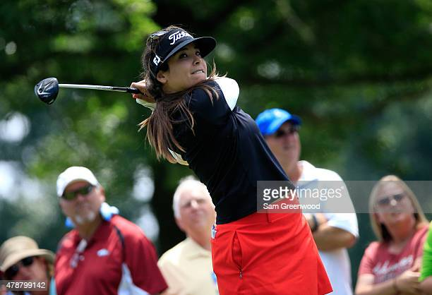 Mariajo Uribe of Colombia plays a shot on the 9th hole during the second round of the Walmart NW Arkansas Championship Presented by PG at Pinnacle...