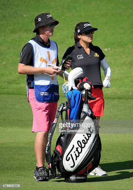 Mariajo Uribe of Colombia plays a shot on the second hole during the second round of the Walmart NW Arkansas Championship Presented by PG at Pinnacle...