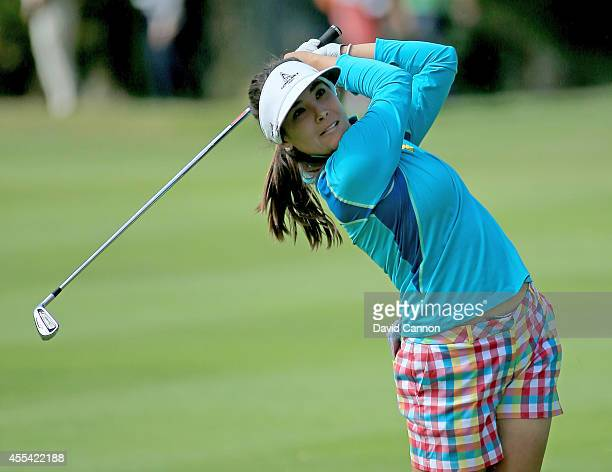 Mariajo Uribe of Colombia plays her second shot on the first hole during the final round of the 2014 Evian Championship at The Evian Resort Golf Club...