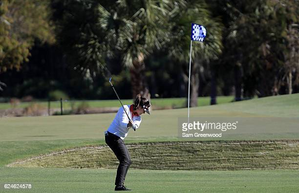 MariaJo Uribe of Colombia plays her third shot on the first hole during the final round of the CME Group Tour Championship at Tiburon Golf Club on...