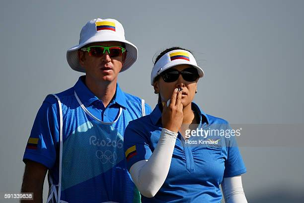 Mariajo Uribe of Colombia prepares to play her shot from the fourth tee during the First Round of Women's Golf at Olympic Golf Course on Day 12 of...