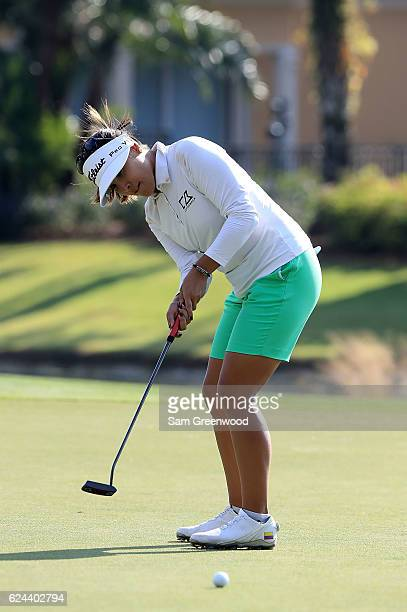 MariaJo Uribe of Colombia putts on the 16th hole during the third round of the CME Group Tour Championship at Tiburon Golf Club on November 19 2016...