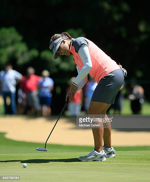 Mariajo Uribe of Colombia strokes a putt during the fourth and final round of the Cambia Portland Classic held at Columbia Edgewater Country Club on...