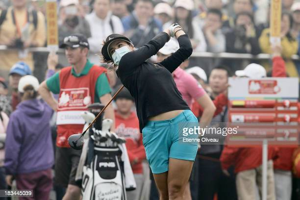 Mariajo Uribe of Colombia tees off during the final round of the Reignwood LPGA Classic at Pine Valley Golf Club on October 6 2013 in Beijing China