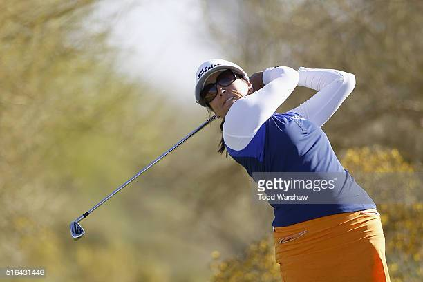 Mariajo Uribe of Colombia tees off on the fourth hole during the second round of the LPGA JTBC Founders Cup at Wildfire Golf Club on March 18 2016 in...