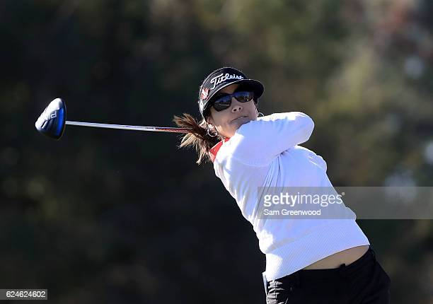 MariaJo Uribe of Colombia tees off on the second hole during the final round of the CME Group Tour Championship at Tiburon Golf Club on November 20...
