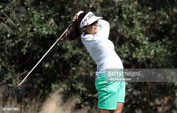 MariaJo Uribe of Colombia tees off on the sixth hole during the third round of the CME Group Tour Championship at Tiburon Golf Club on November 19...