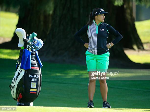 Mariajo Uribe of Colombia waits to play on the 18th hole during the second round of the Cambia Portland Classic held at Columbia Edgewater Country...
