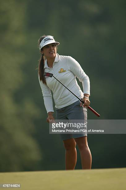 Mariajo Uribe of Colombia watches her shot on nine during the 2015 KPMG Women's PGA Championship held at Westchester Country Club on June 11 2015 in...