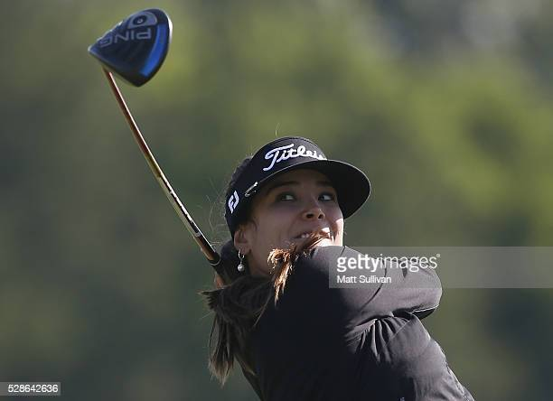 Mariajo Uribe of Colombia watches her tee shot on the ninth hole during the second round of the Yokohama Tire Classic on May 06 2016 in Prattville...