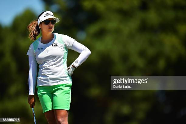 Mariajo Uribe of Columbia looks on during round one of the ISPS Handa Women's Australian Open at Royal Adelaide Golf Club on February 16 2017 in...