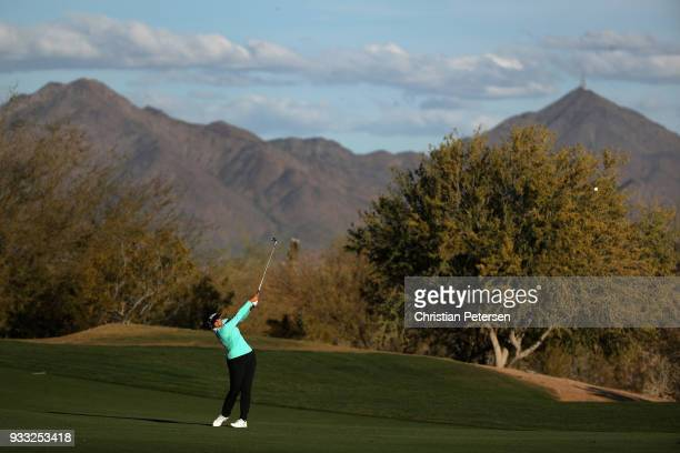 Mariajo Uribe of Columbia plays her second shot on the 18th hole during the third round of the Bank Of Hope Founders Cup at Wildfire Golf Club on...