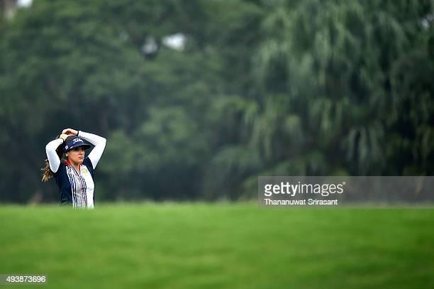 Mariajo Uribe of Columbia reacts during day two of 2015 Fubon LPGA Taiwan Championship on October 23 2015 in Miramar Resort Country Club Taipei Taiwan