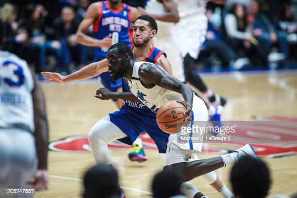 Marial Shayok of the Delaware Blue Coats drives the ball against the Long Island Nets during an NBA G-League game on March 4, 2020 at Nassau Veterans...