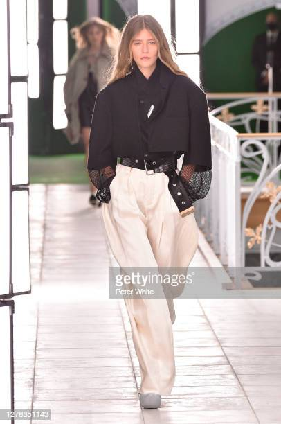 Mariam de Vinzelle walks the runway during the Louis Vuitton Womenswear Spring/Summer 2021 show as part of Paris Fashion Week on October 06, 2020 in...
