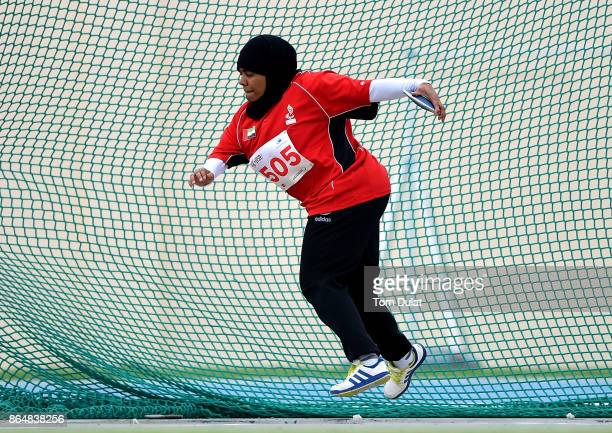 Mariam Matroushi of UAE competes in Discus Women final during the 9th Fazza International IPC Athletics Grand Prix Competition World Para Athletics...