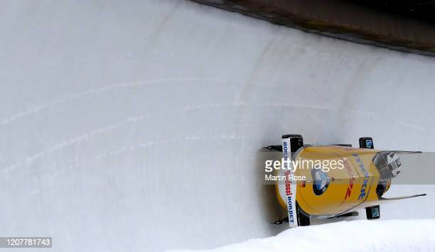 Mariama Jamanka and Annika Drazek of Germany compete during the first heat of day 1 during the BMW IBSF World Championships Altenberg 2020 on...