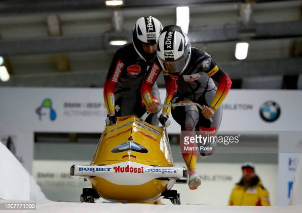 Mariama Jamanka and Annika Drazek of Germany compete during the second heat of day 1 during the BMW IBSF World Championships Altenberg 2020 on...