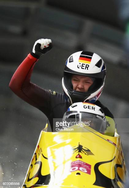 Mariama Jamanka and Lisa Buckwitz of Germany celebrate in the finish area during the Women's Bobsleigh heats on day twelve of the PyeongChang 2018...