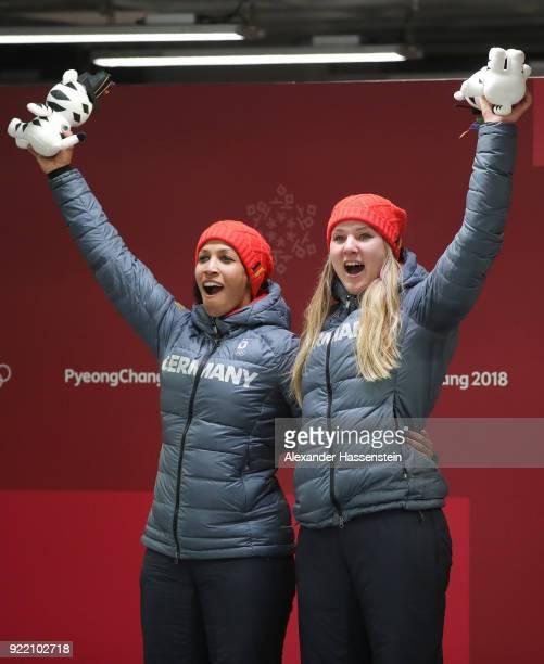 Mariama Jamanka and Lisa Buckwitz of Germany celebrate winning gold during the Women's Bobsleigh heats on day twelve of the PyeongChang 2018 Winter...