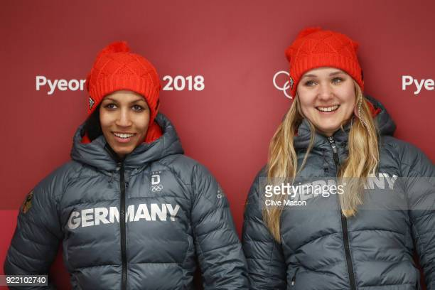 Mariama Jamanka and Lisa Buckwitz of Germany celebrate winning gold during the Women's Bobsleigh heats on day twelve of the PyeongChang 2018 Winter...