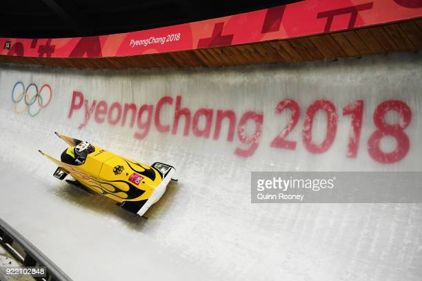 Mariama Jamanka and Lisa Buckwitz of Germany slide during the Women's Bobsleigh heats on day twelve of the PyeongChang 2018 Winter Olympic Games at...