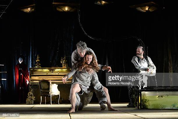 Mariama Valerie Doucet James Thierree and Yann Nedelec of Compagnie du Hanneton perform on stage 'The Toad Knew' during the Edinburgh International...
