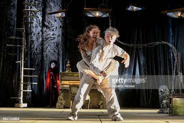 Mariama Valerie Doucet James Thierree of Compagnie du Hanneton perform on stage 'The Toad Knew' during the Edinburgh International Festival at King's...