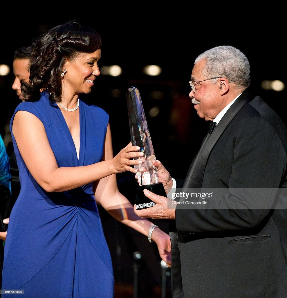 Marian Anderson Board Chair Pamela Browner White and Honoree Actor James Earl Jones attend the 2012 Marian Anderson awards gala at Kimmel Center for the Performing Arts on November 19, 2012 in Philadelphia, Pennsylvania.