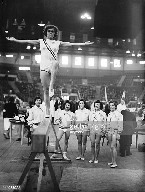 Marian Barone of the USA on the balance beam at Empress Hall Earl's Court during the gymnastics events at the London Olympic Games 12th August 1948...