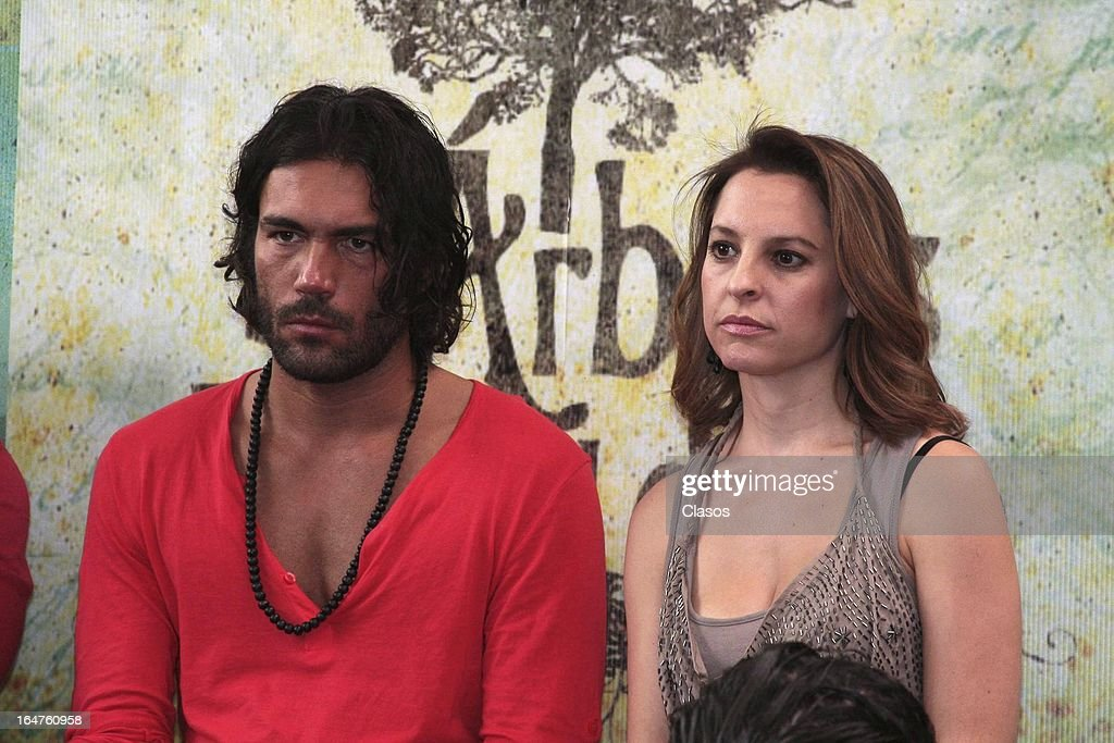 Marian de Tavira and Sacha Marcus of 'Los Arboles Mueren de Pie' look on during the press conference before the start of the shooting of the film on March 27, 2013, in Mexico City, Mexico.