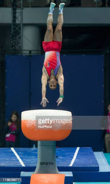 Marian Dragulescu in action during qualifications at the European Championships Artistic Gymanstics in Szczecin Poland on 10 April 2019 The EC are...