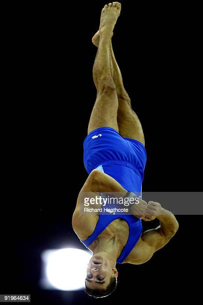 Marian Dragulescu of Romania competes in the floor exercise during the Apparatus Finals on the fifth day of the Artistic Gymnastics World...