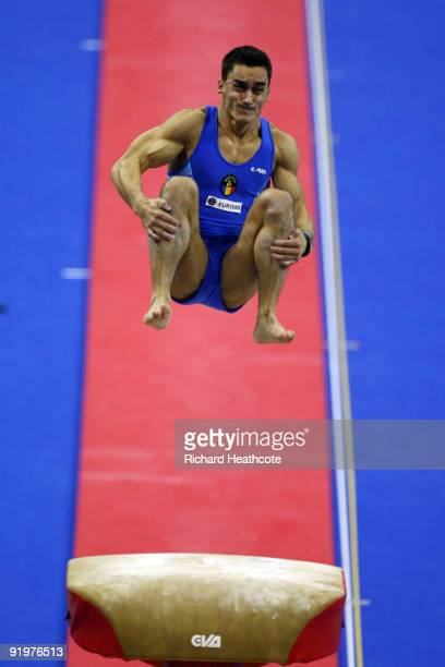 Marian Dragulescu of Romania competes in the vault event during the Apparatus Finals on the sixth day of the Artistic Gymnastics World Championships...
