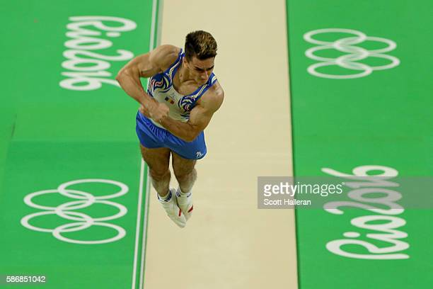 Marian Dragulescu of Romania vaults during the Artistic Gymnastics Men's Team qualification on Day 1 of the Rio 2016 Olympic Games at Rio Olympic...