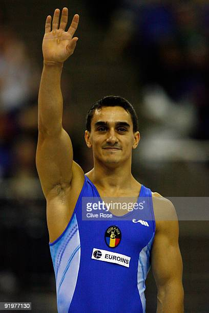 Marian Dragulescu poses after he wongold in the vault event during the Apparatus Finals on the sixth day of the Artistic Gymnastics World...