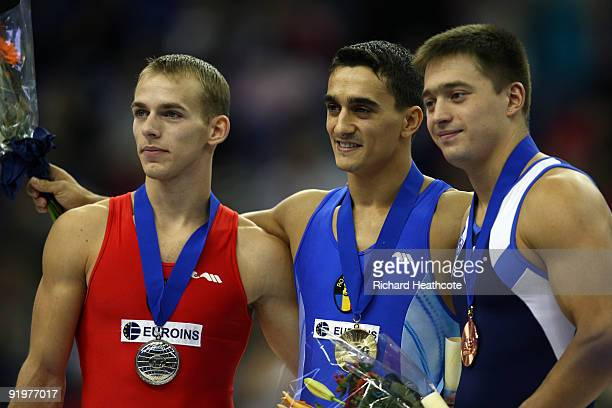 Marian Dragulescu poses with his gold medal after he won the vault event during the Apparatus Finals on the sixth day of the Artistic Gymnastics...
