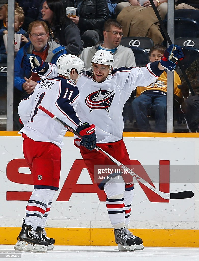 Marian Gaborik #10 celebrates his goal with Matt Calvert #11 of the Columbus Blue Jackets against the Nashville Predators during an NHL game at the Bridgestone Arena on April 4, 2013 in Nashville, Tennessee.