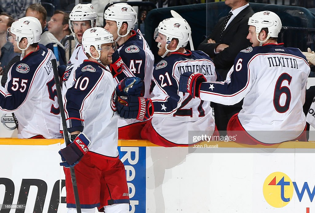 Marian Gaborik #10 of the Columbus Blue Jackets celebrates his goal with the bench against the Nashville Predators during an NHL game at the Bridgestone Arena on April 4, 2013 in Nashville, Tennessee.