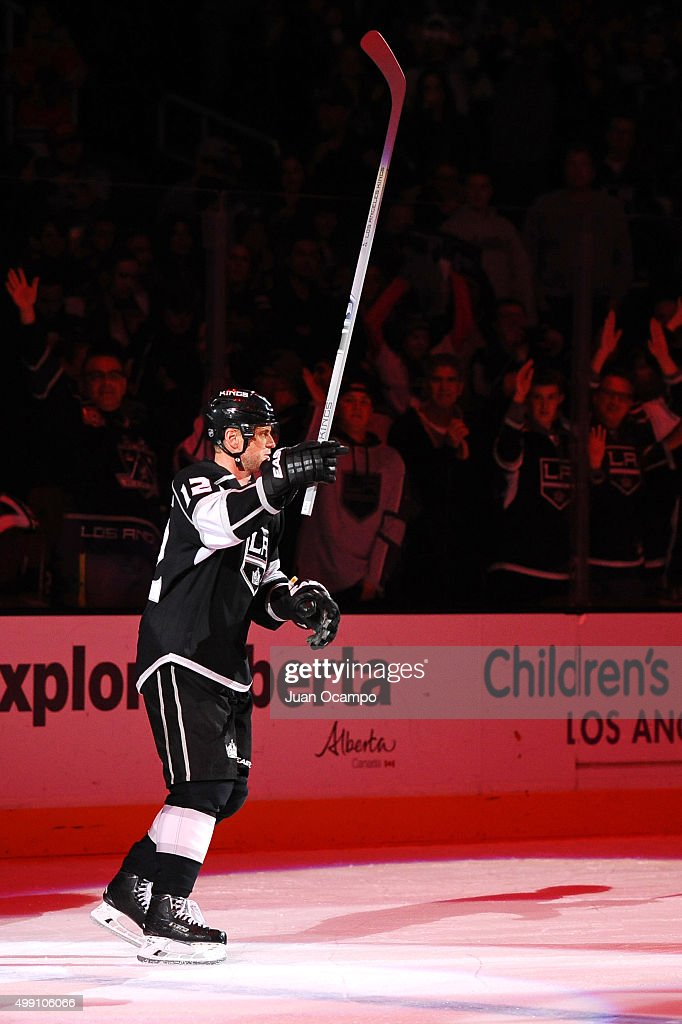Marian Gaborik #12 of the Los Angeles Kings celebrates after a game against the Chicago Blackhawks at STAPLES Center on November 28, 2015 in Los Angeles, California.