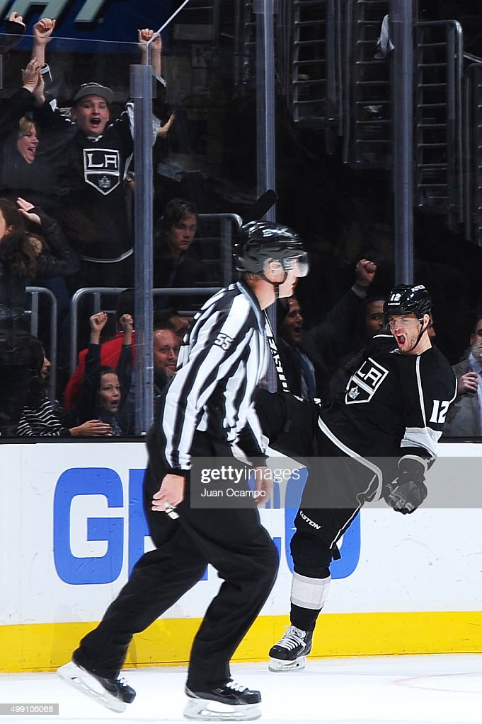 Marian Gaborik #12 of the Los Angeles Kings celebrates during a game against the Chicago Blackhawks at STAPLES Center on November 28, 2015 in Los Angeles, California.